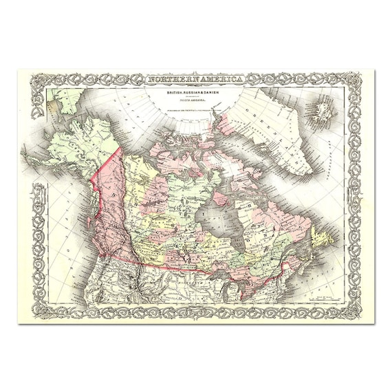 Old map of Northern America by Colton 1857 - Vintage U.S.A. Atlas Map -  Printable Download