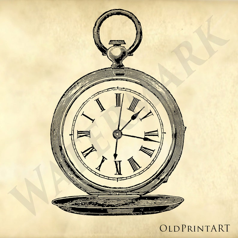 61298d722 Old Pocket Watch from 1878 vintage store catalog Illustration | Etsy