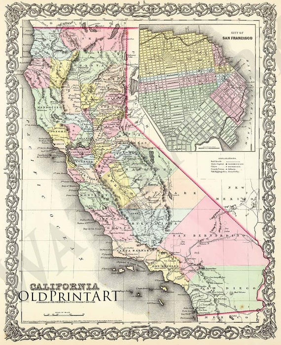 Old Vintage Map Of California From 1857 With San Francisco Etsy - California-on-the-us-map