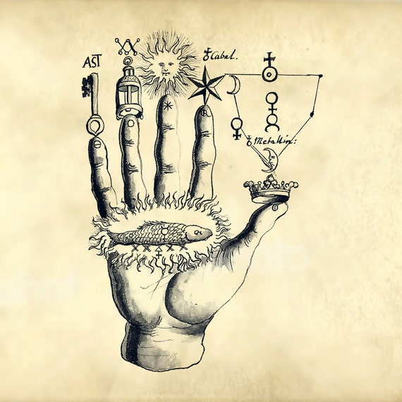 Magical Hand With Old Symbols From Ancient Alchemy Book Etsy