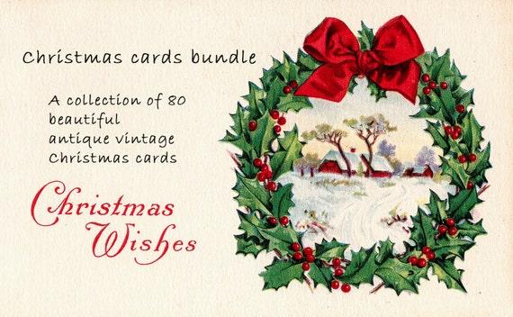 Christmas card bundle of 80 beautiful antique vintage etsy m4hsunfo