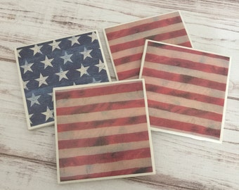 American Flag Ceramic Coasters, Coaster Set, July 4th Decor, Tile Coasters, Housewarming Gift, Patriotic Decor, Gift For Women, Gift For Men