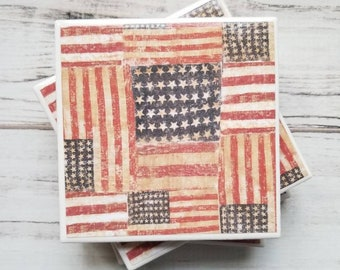 American Flag Coasters, Ceramic Coasters, Coaster Set, Tile Coasters, Patriotic Decor, Rustic Decor, 4th Of July Decor, Gift For Women