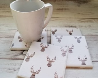 Deer Head Coasters, Deer Ceramic Coasters, Women's Gift, Tile Coasters, Gift For Her, Farmhouse Decor, Housewarming Gift, Rustic Home Decor