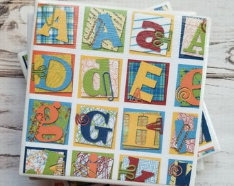 Alphabet Coasters, ABC Ceramic Coasters, Tile Coasters, Preschool Teacher, Housewarming Gift, Teacher Gift, Women's Gift, End Of School Gift