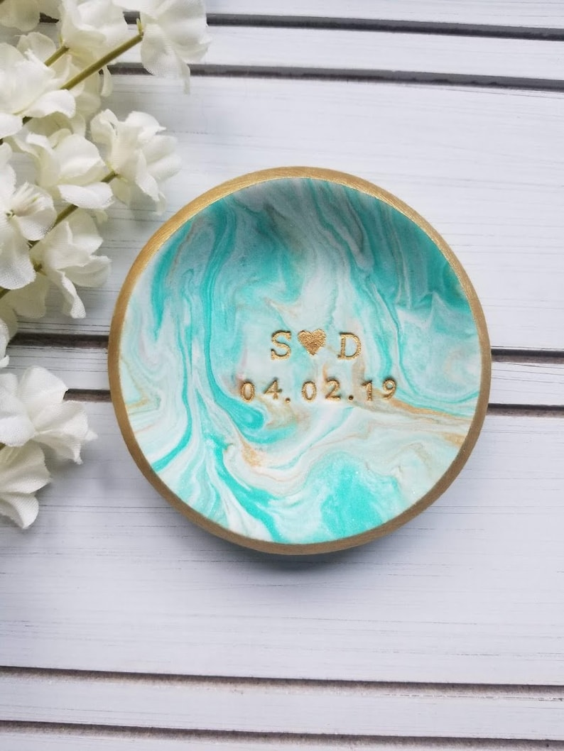 Engagement Gift Teal /& Gold Marble Jewelry Dish Personalized Gift Engagement Ring Holder Valentine/'s Day Custom Date Initials Ring Dish