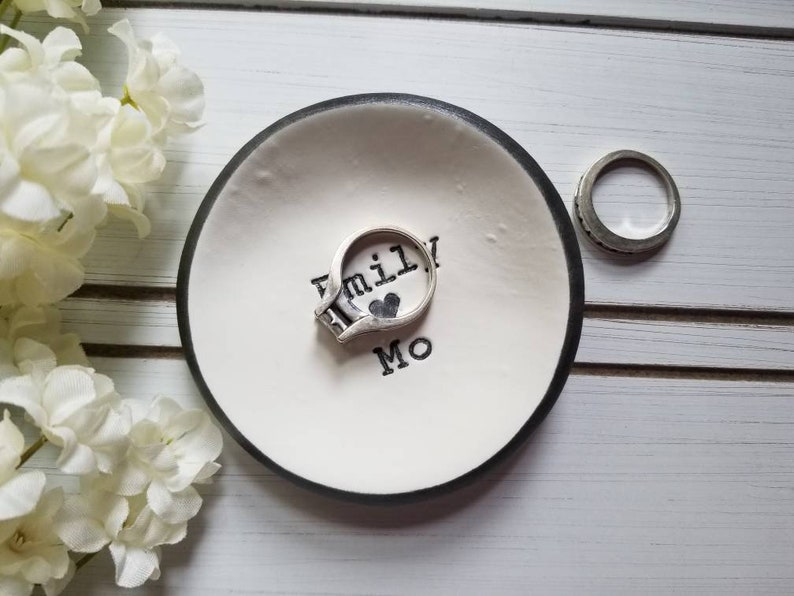 Anniversary Gift Jewelry Dish Couple Gift Trinket Dish Gray Engagement Ring Holder Engagement Gift For Her Personalized Ring Dish