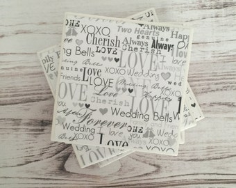Wedding Coasters, Love Coasters, Ceramic Coasters, Tile Coasters, Gift For Her, Wedding Gift, Inspirational Gift, Home Decor, Gift For Him