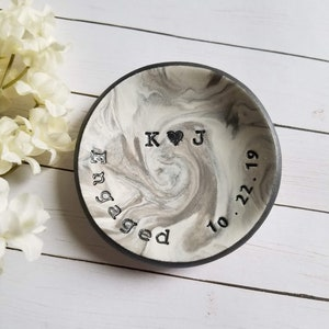 Engaged Ring Dish Engagement Gift For Her Bride To Be Gift Clay Jewelry Holder Personalized Jewelry Dish Custom Date Trinket Dish