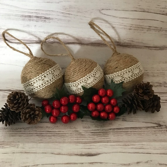 Rustic Christmas Ornaments Twine Christmas Ornaments Christmas Ornaments Primitive Ornaments Christmas Decorations Gift For Women