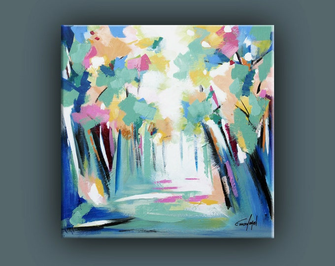 """Original Abstract Painting, Contemporary Art, Acrylic Painting, Square Fine Art, Abstract Forest paining 16""""x16"""" Ready to Hang"""