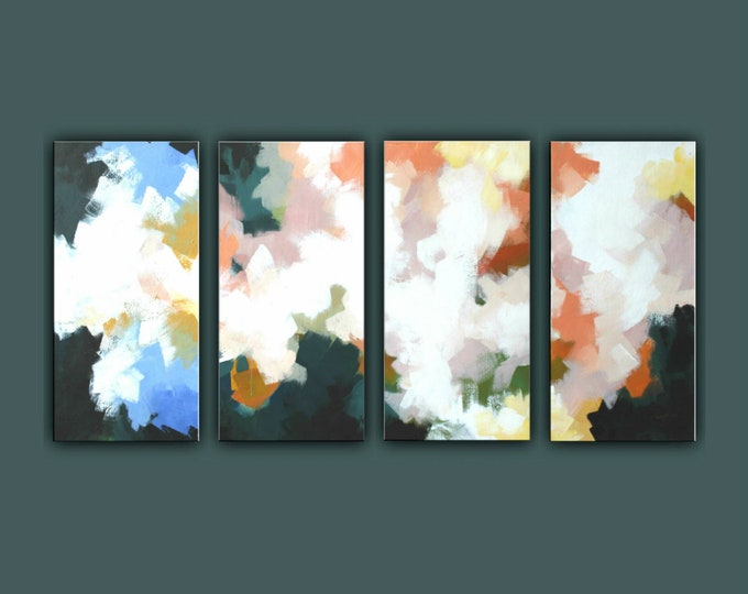 "SALE, Original Abstract Painting, Set of 4 Painting, Contemporary Art, Acrylic Painting, Large Abstract paining 32""x64"" Ready to Hang"