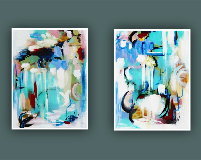 "Original Abstract Painting, Contemporary Art, Set of 2 Art, Abstract Painting, Modern Painting, Fine Art, Painting on Paper 12""x16"" Each"