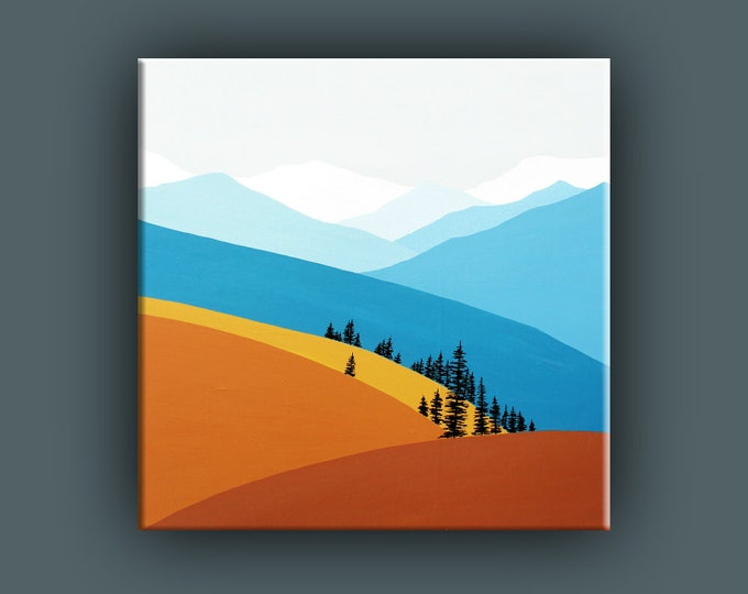 Original Painting, Contemporary Art, Large Acrylic Painting, Landscape Painting, Square Mountain Painting, Ready to Hang, Free Shipping