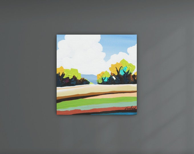 Original Painting, Contemporary Art, Square Acrylic Painting, Fine Art, Landscape Painting, Ready to Hang, Free Shipping