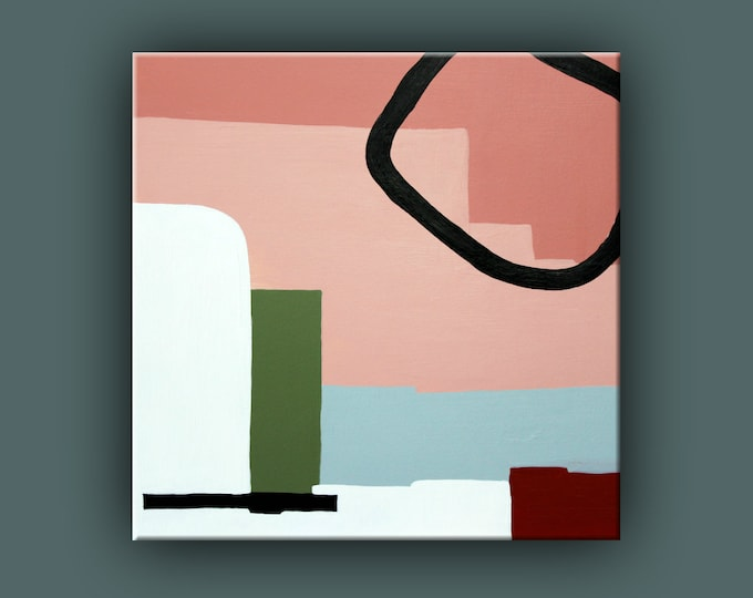 "Original Painting, Contemporary Art, Abstract Painting on Woodpanel, Square Painting, Acrylic Paining on 12""x12"" Wood Panel Ready to Hang"