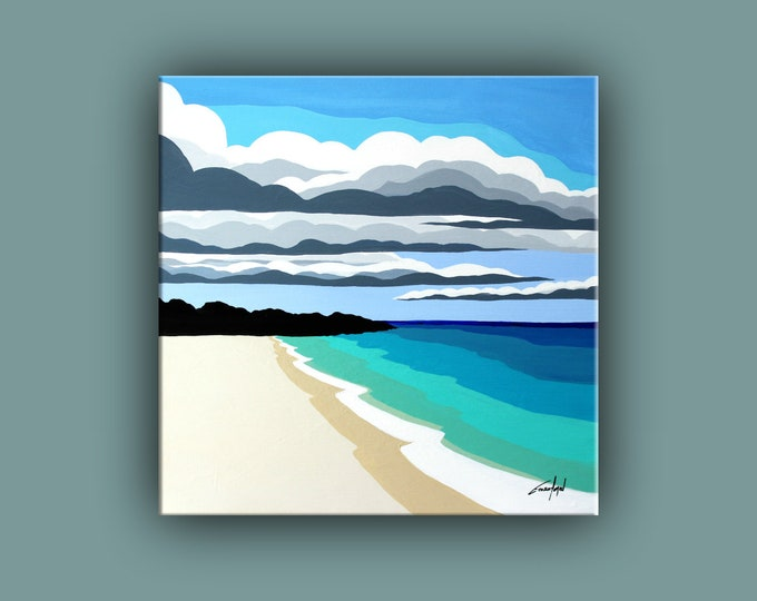 "Original Painting, Contemporary Art, Acrylic Seascape Painting, Square Fine Art, Abstract Landscape Paining 20""x20"" Ready to Hang"