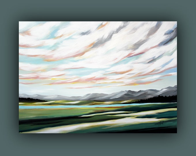 "Original Landscape Painting, Contemporary Art, Large Acrylic Painting, Fine Art, Abstract paining 36""x51"" Ready to Hang"