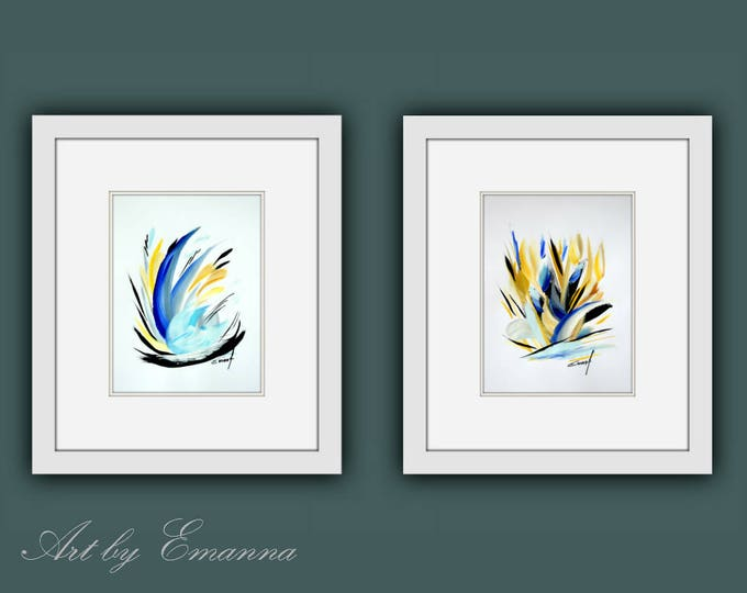 Original Paintings, Framed Fine Art, Plant Art, Framed Original Painting, Acrylic on Paper, Modern Wall Art, Set of 2 Art, Ready to Hang