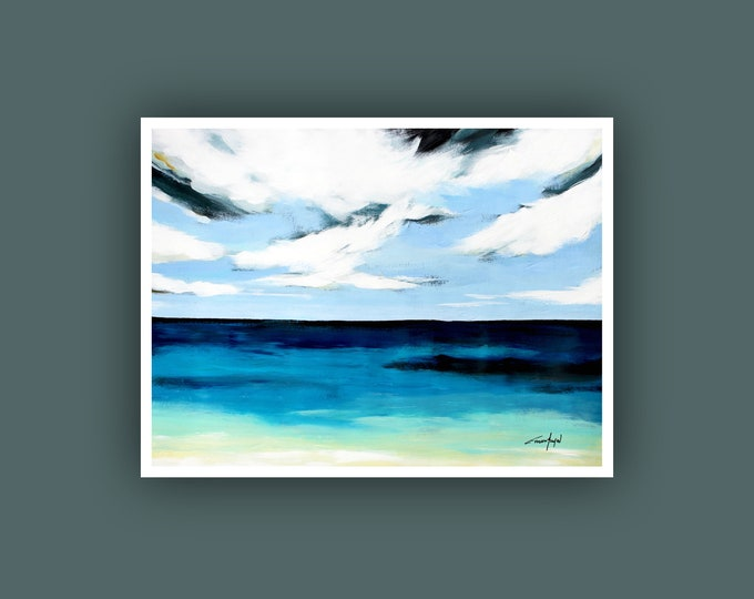 "SALE, Original Painting, Contemporary art, Seascape Painting, Modern Art, Wall Art, Abstract Painting on Paper, 18""x24"" Acrylic Painting"