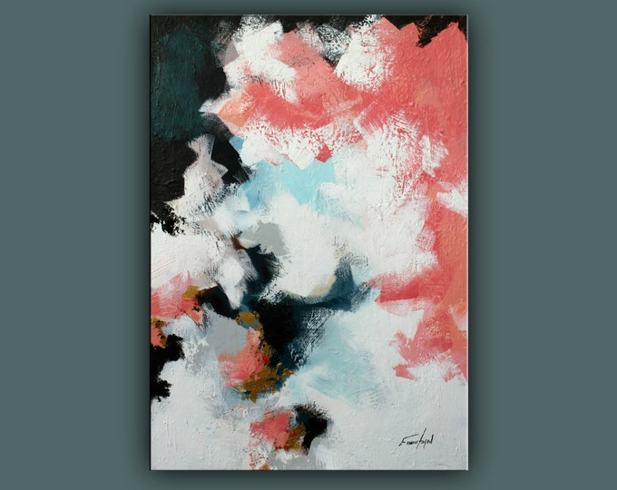 """SALE, Original Abstract Painting, Contemporary Art, Acrylic Painting, Fine Art, Abstract paining 40""""x28"""" Ready to Hang"""