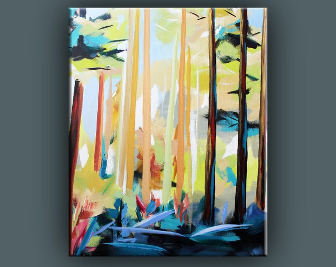"Original Painting, Contemporary Art, Acrylic Painting, Abstract Forest Painting, Landscape Painting, 20""x24"" Ready to Hang"