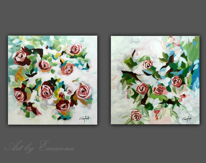 "SALE, Original Painting, Flower Painting, Contemporary Art, Set of 2 Modern Wall Art,  20""x40"" Ready to Hang"