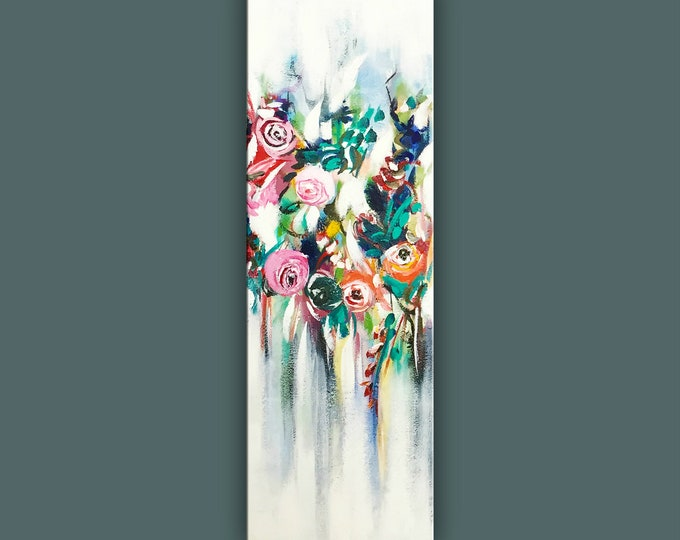 """SALE, Original Flower Painting, Modern Canvas Art, Contemporary Painting, 36""""x12"""" Ready to Hang"""