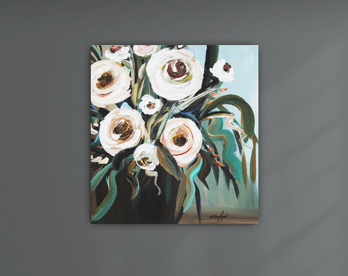"""Original Flower Painting, Modern Canvas Art, Contemporary Painting, 20""""x20"""" Ready to Hang"""