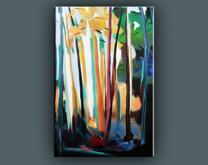 "Original Painting, Contemporary Art, Acrylic Painting, Abstract Forest Painting, Landscape Painting, 16""x24"" Ready to Hang"