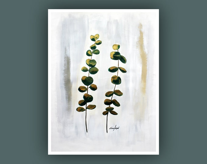 "Original Abstract Painting, Contemporary Art, Plant Painting, Modern Painting, Eucalyptus Leaves, Fine Art, Painting on Paper 18""x24"""