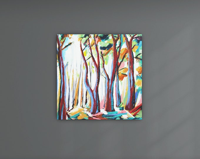 """Original Painting, Contemporary Art, Acrylic Painting, Abstract Forest Painting, Landscape Painting, 24""""x24"""" Ready to Hang"""