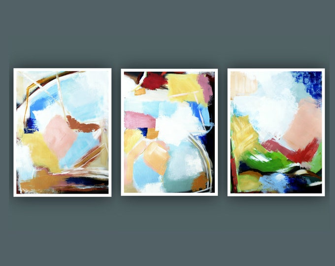 "Original Abstract Painting, Set of 3 Painting on Paper, Contemporary Art, Acrylic Painting, Set of Abstract paining 18""x24"" Each"
