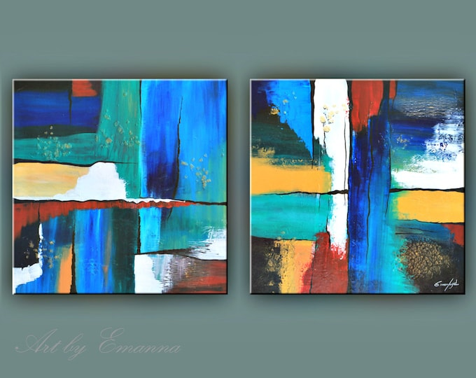 """SALE, Original Painting, Set of 2 Abstract Painting, Modern painting, Contemporary Art, Texture Painting, Wall Decor 24""""x120"""" Ready to Hang"""