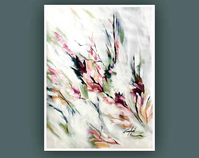 "Original Painting, Contemporary art, Flower Painting, Modern Art, Wall Art, Abstract Painting on Paper, 18""x24"" Acrylic Painting"