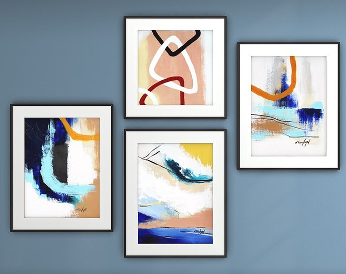Fine Art Prints, Gallery Wall Set, Set of 4 Prints, Contemporary art, Abstract Paintings, Modern Art Prints, Wall Art set,Giclee Print