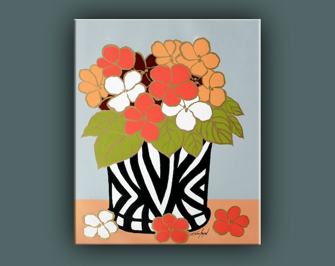 "SALE, Original Flower Painting, Modern Canvas Art, Contemporary Painting, 24""x20"" Ready to Hang"