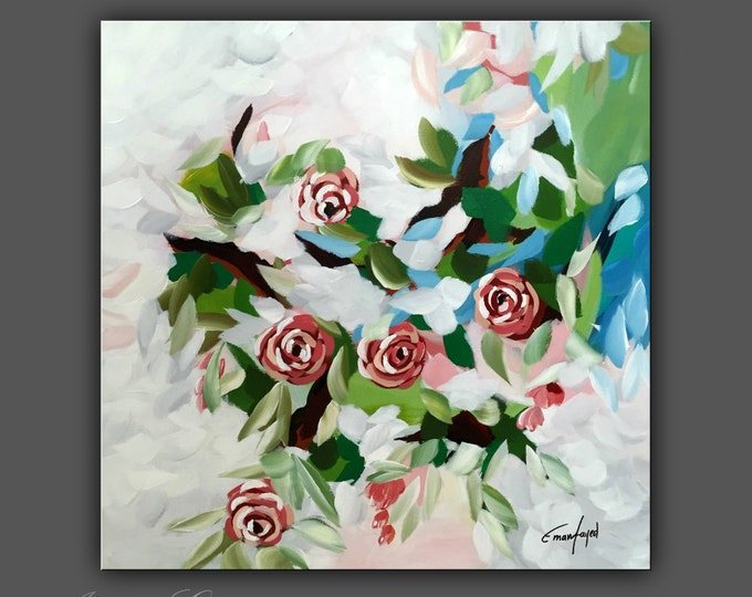 "SALE, Original Flower Painting, Modern Canvas Art, Contemporary Painting, 20""x20"" Ready to Hang"