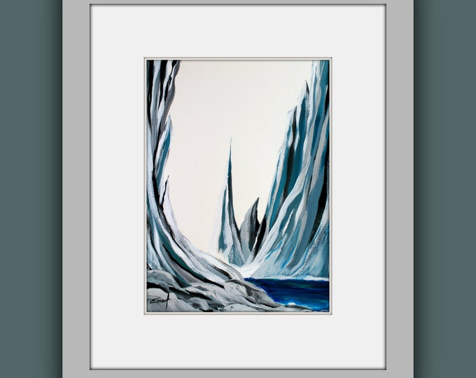 "SALE Original Mountain Painting, Abstract Painting, Contemporary Art, Modern Painting on Paper 11""x15"""