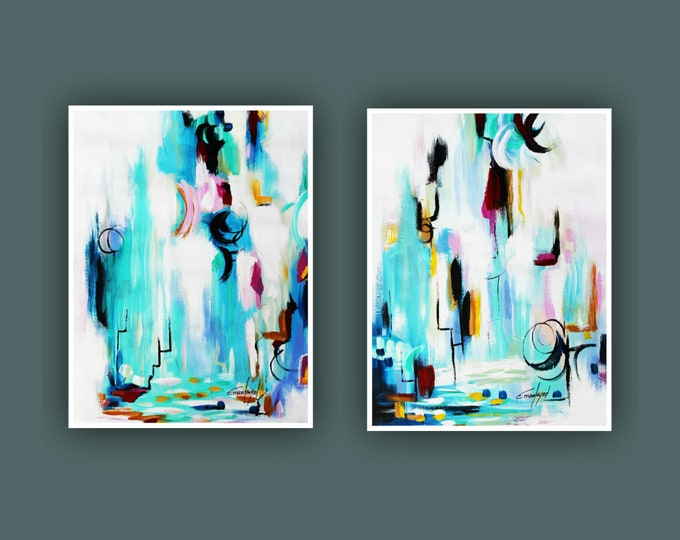 "Original Abstract Painting, Contemporary Art, Set of 2 Art, Abstract Painting, Modern Painting, Fine Art, Painting on Paper 18""x24"" Each"