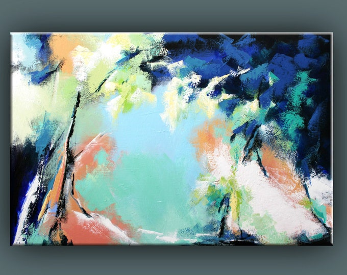 "Original Painting, Contemporary Art, Acrylic Painting, Abstract Tree Painting, Large Landscape Painting, 32x48"" Ready to Hang"