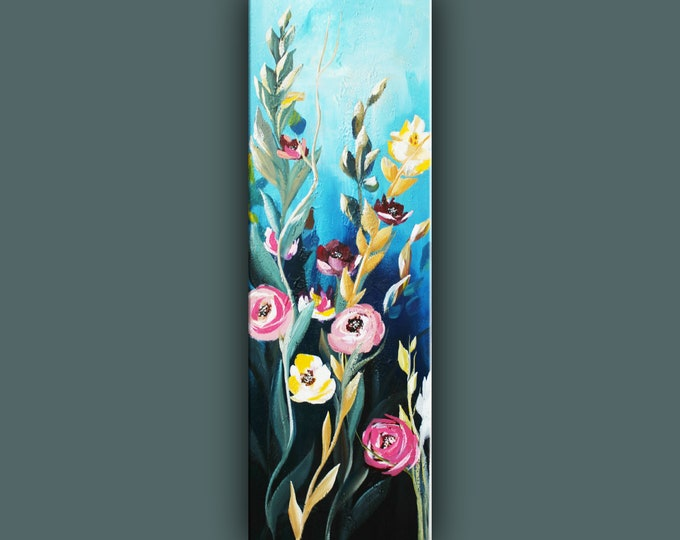 "SALE, Original Flower Painting, Modern Canvas Art, Contemporary Painting, 36""x12"" Ready to Hang"