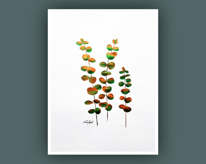 """Original Abstract Painting, Contemporary Art, Plant Painting, Modern Painting, Eucalyptus Leaves, Fine Art, Painting on Paper 18""""x24"""""""