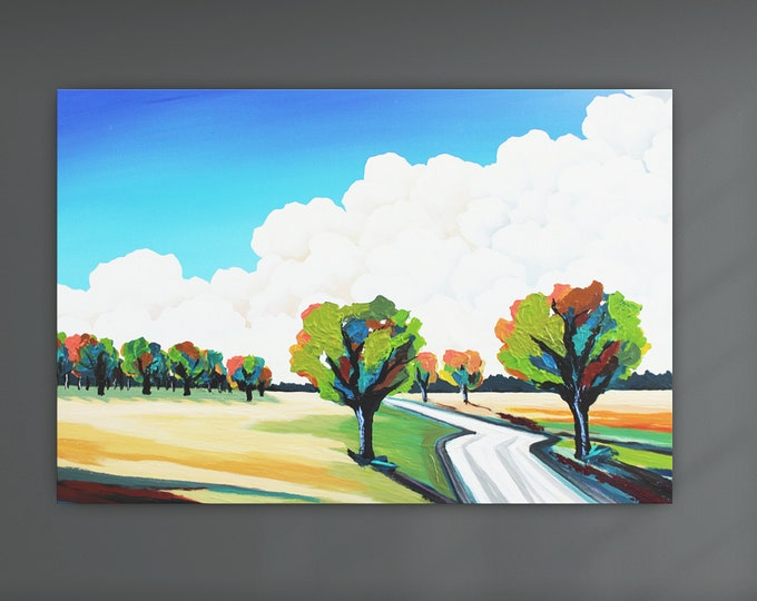 """Original Painting, Contemporary Art, Acrylic Painting, Fine Art, Landscape Painting, 28""""x40"""" Ready to Hang, Free Shipping"""
