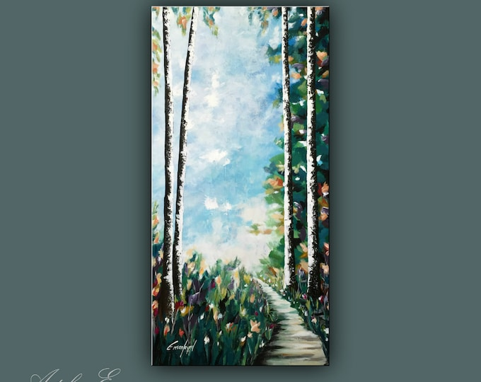 "SALE, Original Painting, Acrylic Painting on Canvas, Modern Wall Art, Contemporary tree painting, 48""x24"" Ready to Hang"