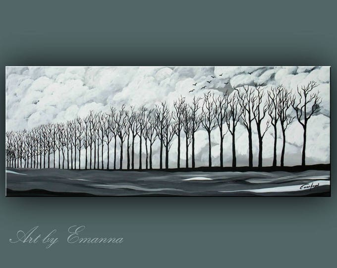 "SALE, Original Landscape Painting, Black and White Trees Painting, Acrylic painting, Modern Wall Art 20""x48"" Ready to Hang"