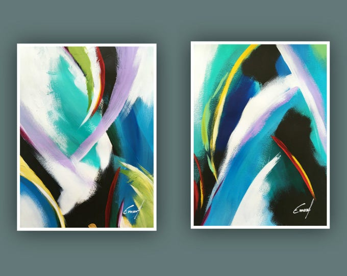 "SALE Original Abstract Painting, Contemporary Art, Set of 2 painting, Modern Painting on Paper 11""x15"""