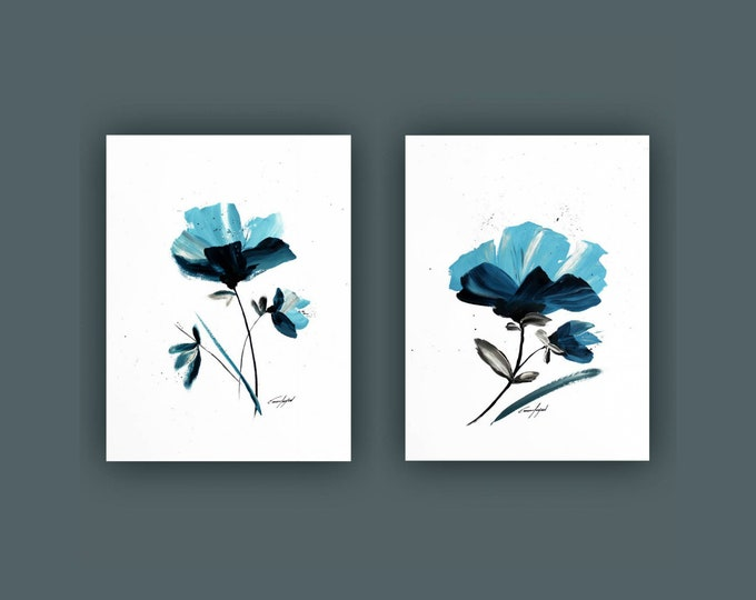 "Original Abstract Flower Painting, Set of 2 Painting on Paper, Contemporary Art, Acrylic Painting, Set of Abstract paining 18""x24"" Each"