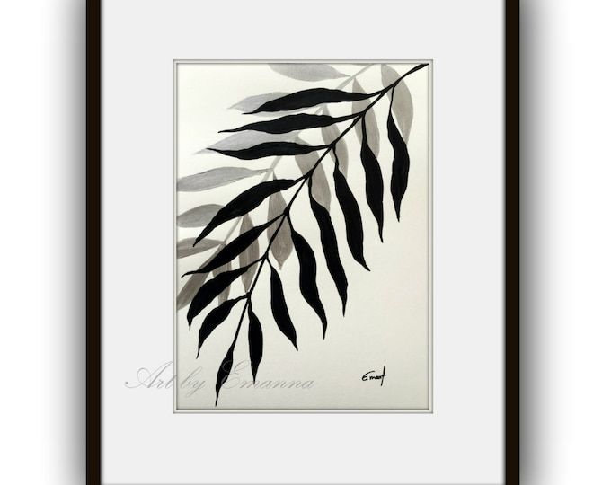 "SALE, Original Painting, Plant Art, Abstract Painting, Contemporary Art, Black and White painting, Modern Painting on Paper 11""x15"""