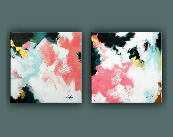 "Original Abstract Painting, Set of 2 Painting, Contemporary Art, Acrylic Painting, Large Abstract paining 24""x48"" Ready to Hang"